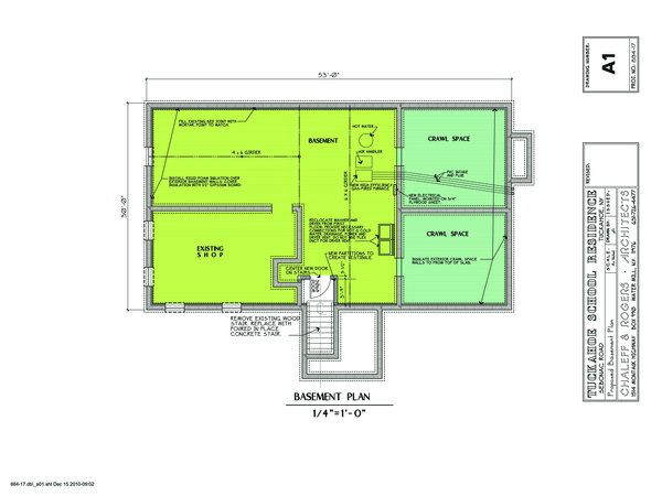 Tuckahoe School residence proposed  basement.    COURTESY OF CHALLEFF AND ROGERS ARCHITECTS