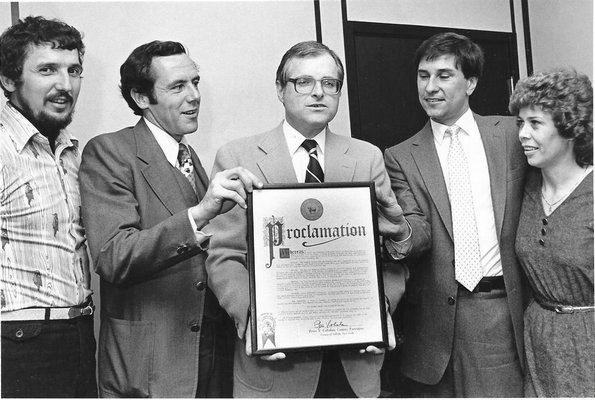 From left to right, Cliff Clark, Jack Faith, Suffolk County Executive Peter Cohalan, John Strode and Janice Olsen. Some time in the early 1980s, Cohalan had a proclamation declaring Shelter Island Run Day.  Clark, Faith and Strode are the race's co-founders.