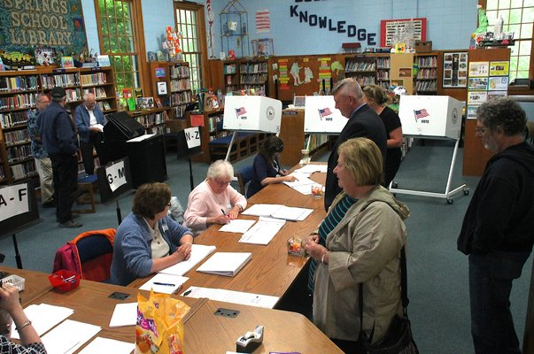 Voters at Springs School cast their ballots on Tuesday, May 19. KYRIL BROMLEY