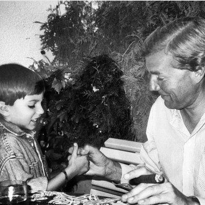 Vincent Bohlen, left, with his father, Edgar Bohlen, when Vincent was a child. They were killed in a car accident while on safari in Namibia last month. Wife and mother, Sissi Bohlen, was with them and survived.