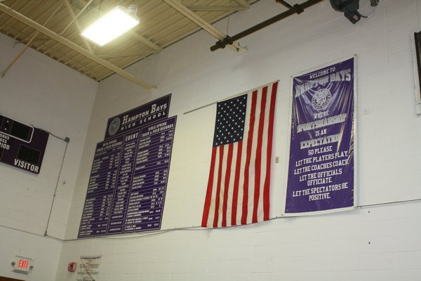 Sportsmanship banners, like this one at Hampton Bays, have become common in high schools, helping to serve as a reminder of what's expected from everyone associated with high school athletics. CAILIN RILEY