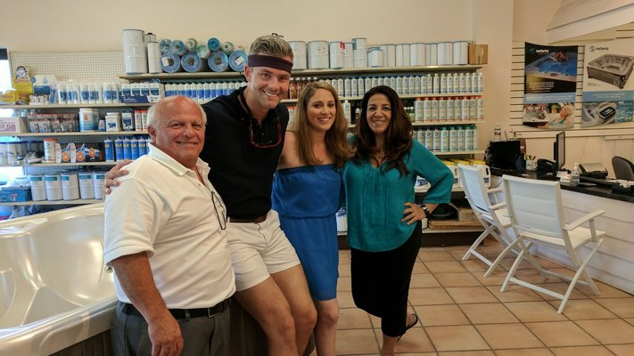 """BRAVO TV's Ryan Serhant on the set of the latest episode of the new series """"Sell It Like Serhan"""" at Ocean Spray Hot Tubs & Saunas in Westhampton Beach. COURTESY OCEAN SPRAY HOT TUBS & SUANAS"""