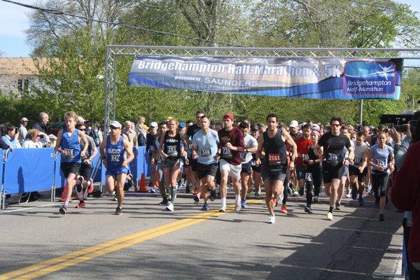 Runners at the start of the sixth annual Bridgehampton Half Marathon on Saturday.   CAILIN RILEY