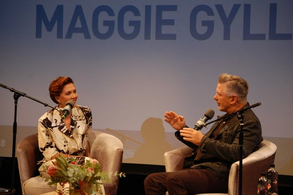 "Maggie Gyllenhaal speaking with Alec Baldwin during ""A Conversaton With Maggie Gyllenhaal"" at Bay Street Theater. JON WINKLER"