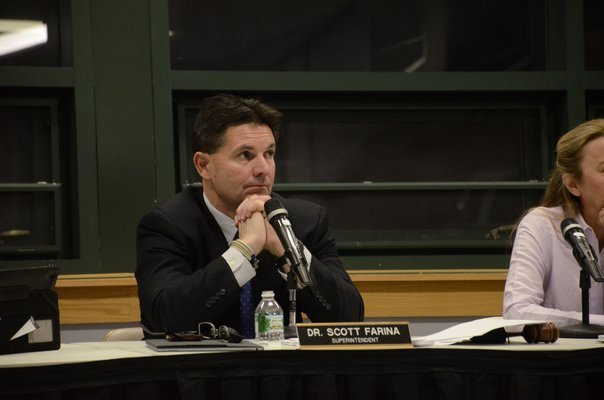 Dr. Scott Farina at the last Southampton Board of Education meeting on Tuesday, April 5. GREG WEHNER