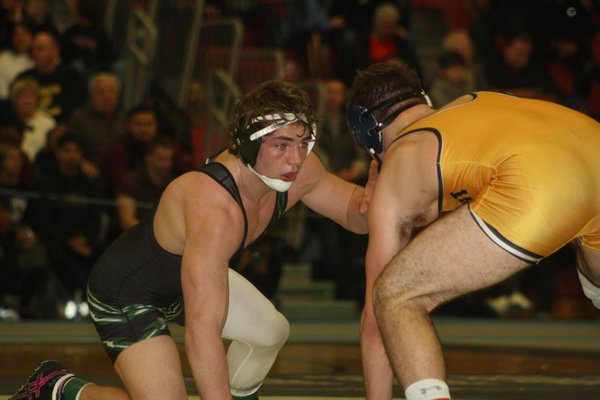 Westhampton Beach senior Liam McIntyre (195 pounds) won his second straight county title on Sunday night. His teammate, sophomore Jackson Hulse, also won a county crown, marking the first time in program history that the Hurricanes have had two county champs in one season. CAILIN RILEY
