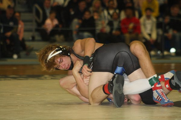 Westhampton Beach sophomore Jackson Hulse won the county title at 160 pounds, becoming the youngest Hurricane wrestler to win a county crown. CAILIN RILEY