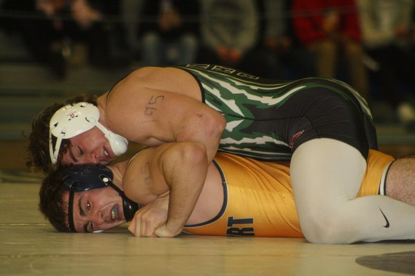 Westhampton Beach senior Liam McIntyre won the county title at 195 pounds, defending his title from last year. CAILIN RILEY