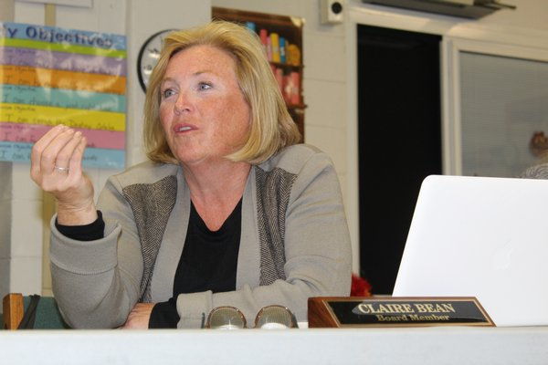 Board of Education member Claire Bean speaks during the discussion on class rank. KATE RIGA