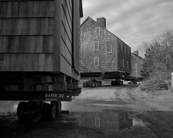 Further Lane buildings line up, ready to be moved to East Hampton. ZAK POWERS