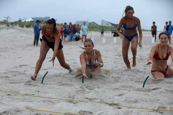 Female guards in the beach flags competition.