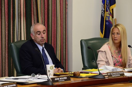 Southampton Town Supervisor Jay Schneiderman and Councilwoman Christine Scalera at a recent public hearing to discuss the Hampton Bays Downtown Overlay District. GREG WEHNER