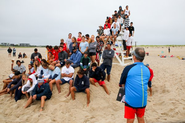 Southampton Town head lifeguard Sean Crowley speaks to his group of guards prior to last week's competition.