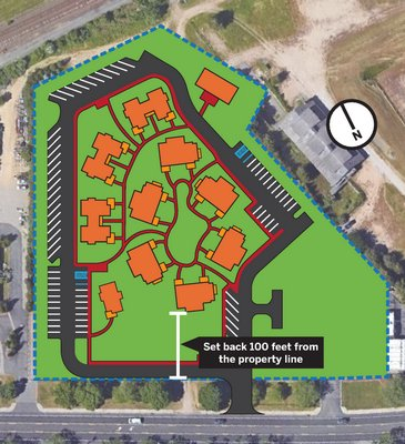 Planned affordable housing complex at 531 Montauk Highway, Amagansett. MICHAEL PINTAURO