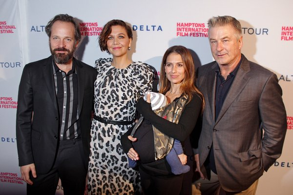 Peter Sarsgaard and Maggie Gyllenhaal with Hilaria, Romeo and Alec Baldwin on the red carpet at Guild Hall on Thursday for the opening night film, 'The Kindergarten Teacher.' TOM KOCHIE
