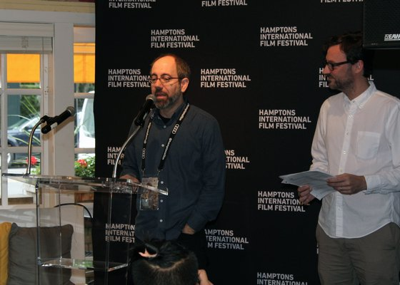 Director Robert Behar accepting the Victor Rabinowitz and Joanne Grant Award for Social Justice for 'The Silence of Others.' TOM KOCHIE