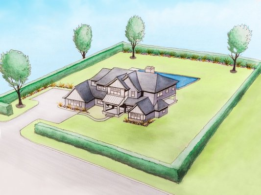 A rendering of 78 Rosko Lane, one of the newly built residences where the Hampton Designer Showhouse is taking place. COURTESY TODD NAGY