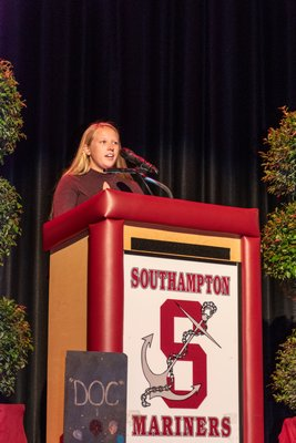 """The Southampton School District added two more names to its Wall of Distinction on Friday evening: The Reverend Marvin Dozier and Lawrence Lechmanski. The wall recognizes individuals who have supported and improved the education of the district's students. Ashley Oliver speaks Lawrence """"Doc"""" Lechmanski. WILSON GREEN PHOTOS"""
