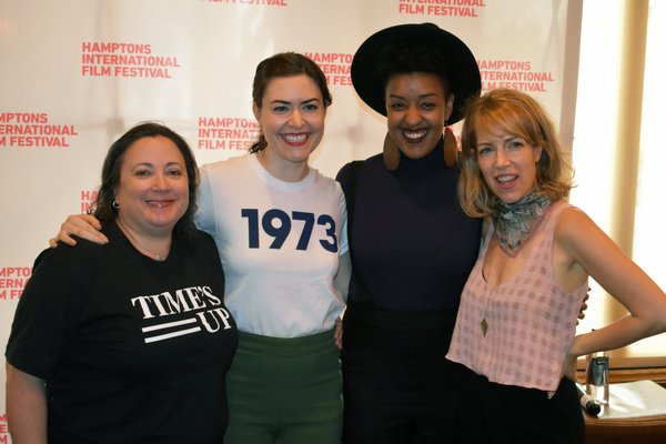 Melissa Silverstein, moderator, with panelists Cait Cortelyou, Sontenish Myers and Nancy Schwartzman at Rowdy Hall in East Hampton for the 'Our Bodies, Our Stories' panel at the Hamptons International Film Festival.  BRENDAN J. O'REILLY