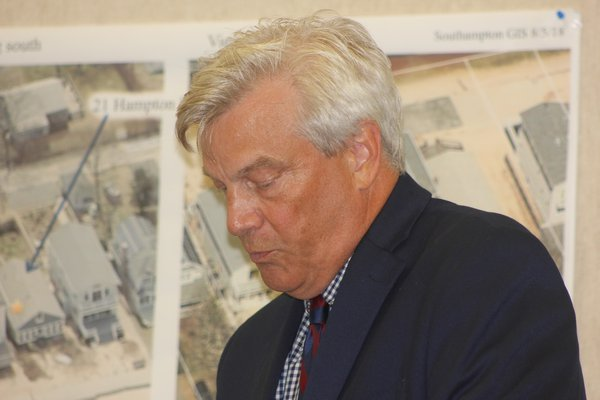 Discovery Land's attorney, Wayne Bruyn at a Southampton Town Zoning Board of Appeals meeting. PRESS FILE