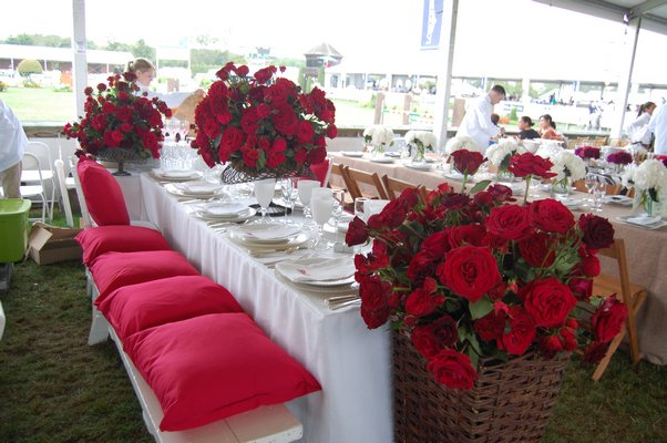 One of the many beautifully decorated tables in the VIP tents at Grand Prix day at this year's Hampton Classic. DAWN WATSON
