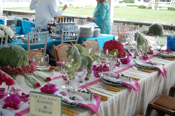 The Fair Play Farm/Kanowitz table was the winner of the best decor award at Grand Prix day at this year's Hampton Classic. DAWN WATSON
