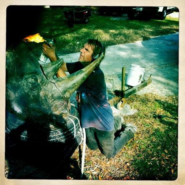Dalton Portella shot a rhinoceros sculpture by Davis Murphy in Montauk last month. DALTON PORTELLA