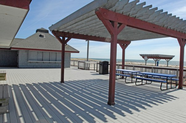 Southampton Town officials discuss possible renovation of the Ponquogue Beach Pavilion.    DANA SHAW
