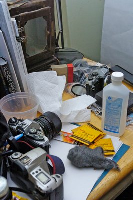 A collection of cameras adorn Jonathan  Morse's workspace.  DANA SHAW