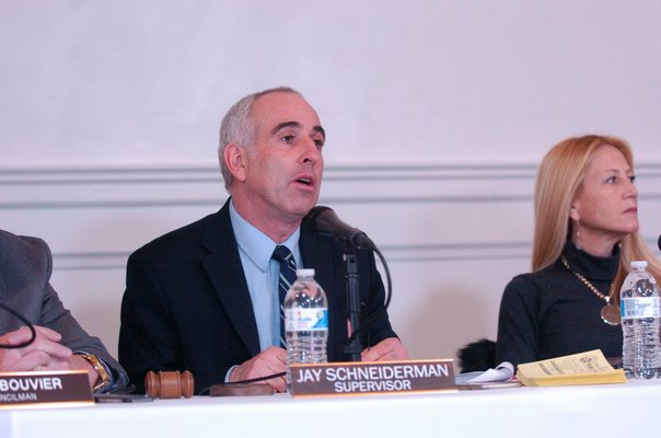 Southampton Town Supervisor Jay Schneiderman and councilwoman Christine Scalera at the Tuckahoe Center hearing on Tuesday.  DANA SHAW