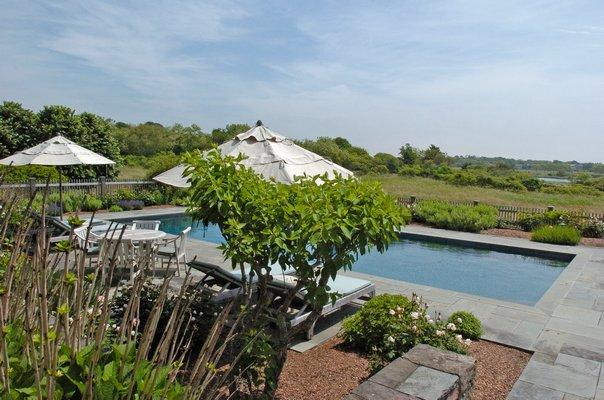 The gardens at the home on Ocean Road in Bridgehampton.   DANA SHAW