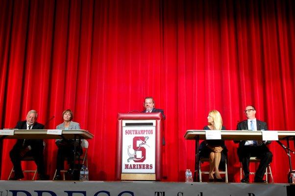 The Southampton Town Board candidates at Monday night's debate at Southampton High School.