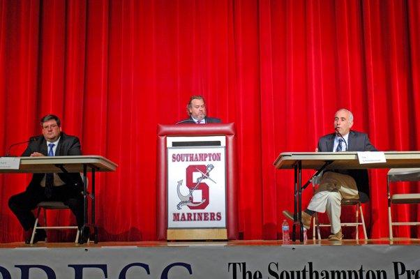 Southampton Town Supervisor candidates Richard Yastrzemski and Jay Schneiderman at Monday night's debate.  DANA SHAW
