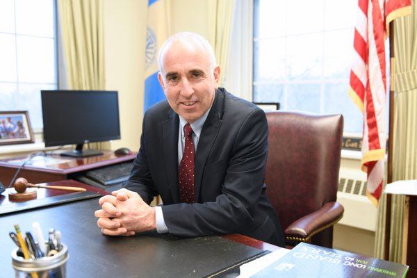 Southampton Town Supervisor Jay Schneiderman in his office at town hall last week.    DANA SHAW