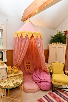 Whimsical tented dog bed for the pooch who has everything! Not an antique but lots of fun. DANA SHAW