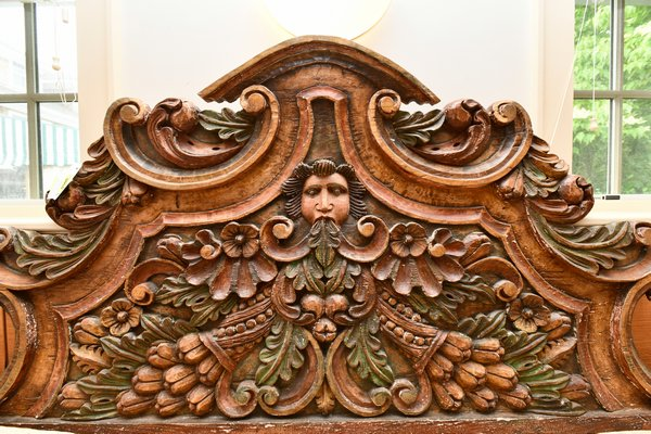 A 19th century carved and painted wood headboard in medieval style purchased in less than three minutes by Greenwald Antiques, Cleveland, Ohio. DANA SHAW
