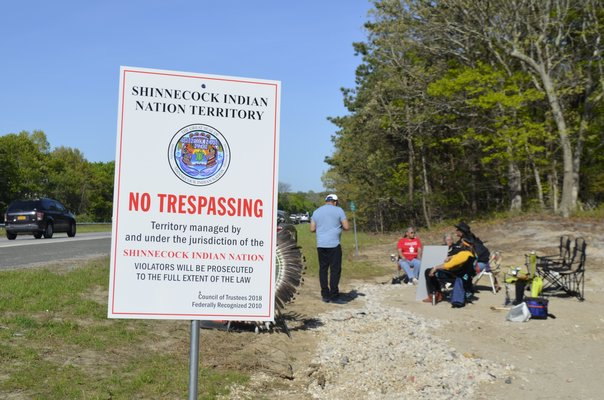 """""""No Trespassing"""" signs were posted by the Shinnecock Indian Nation at the sites of both billboards being constructed along Sunrise Highway. ANISAH ABDULLAH"""