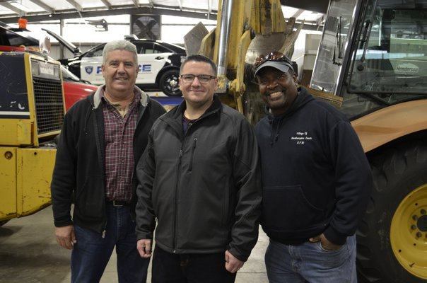 From left to right: Westhampton Beach DPW Superintendent John Kearns, who is retiring January 13, newly-appointed Superintendent Matthew Smith and Labor Crew Leader Greg Liggon, who is retiring January 18. ANISAH ABDULLAH