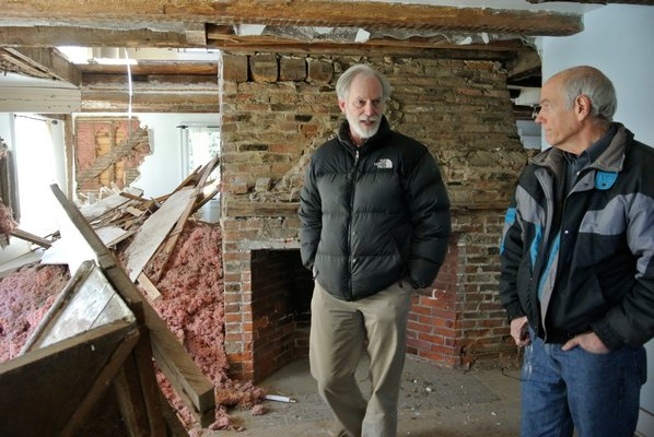 Larry and Bob Hirt in the Jeremiah Halsey Jr. house.