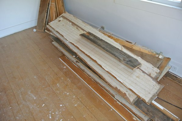Some of the boards salvaged from the house.