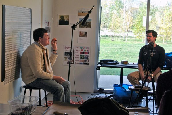 Steven and William Ladd brought their Scrollathon project to the Parrish Art Museum in Water Mill, where they will work with more than 1,000 children over the course of three weeks. DANA SHAW