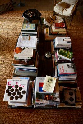 Edwina von Gal's coffee table, which is actually a Mexican wooden mennonite bed, is loaded with books. JD ALLEN