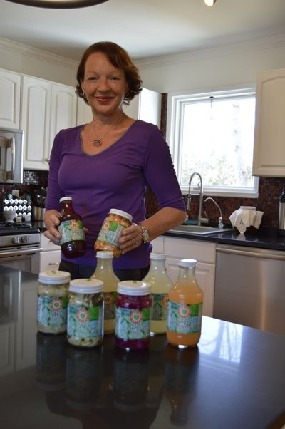 Nadia Ernestus with some Hamptons Brine products at her home in Sag Harbor last week. ALYSSA MELILLO
