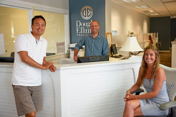 Hara Kang, James Keogh and Sarah Keogh of Douglas Elliman's Atlantic Team in East Hampton. JD ALLEN