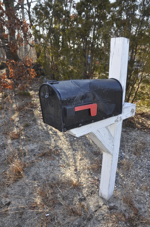 Frank Bosco's mailbox was hit by a snow plow last year on Noyac Road.