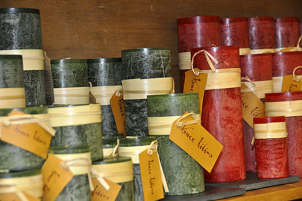 Decorative festive candles at Hildreth's Department Store. MICHELLE TRAURING