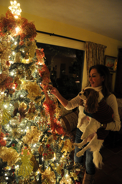 Catherine Paez holds her dog, Lea, as she adjusts ornaments on her family's Christmas tree in Southampton. MICHELLE TRAURING