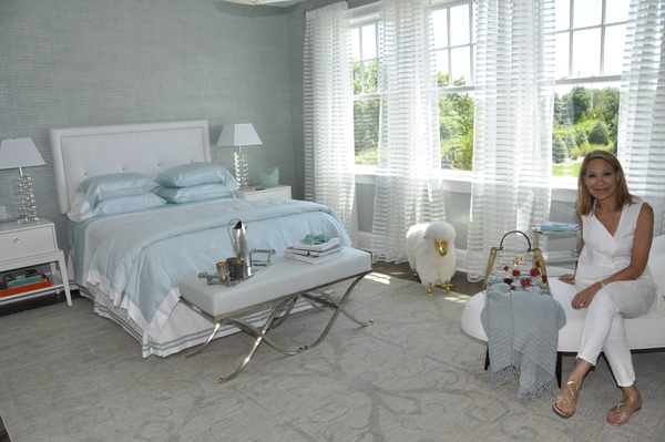 Second floor guest room by Patricia Fisher in the Hampton Designer Showhouse on Scuttle Hole Road in Bridgehampton.