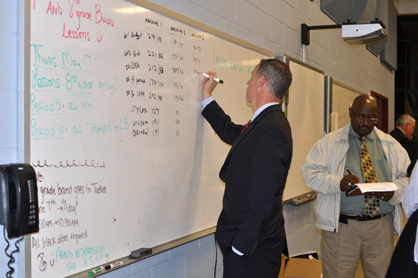 Southampton School Board Member Nicholas Palumbo tallied up the votes on Tuesday night. SHAYE WEAVER
