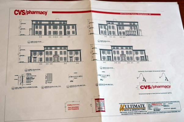 The preliminary plan for the CVS pharmacy and retail store in Bridgehampton.